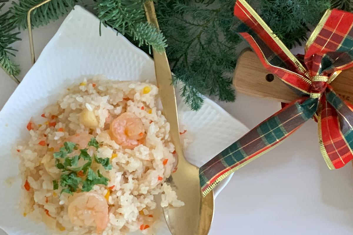 CHRISTMAS RECIPE② | エビとホタテの炊き込みご飯